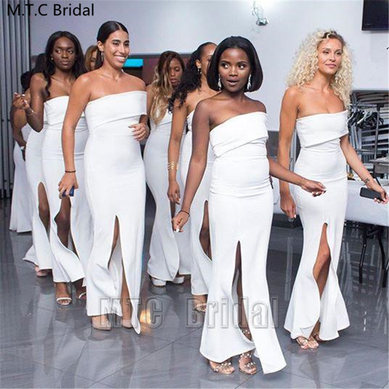 Wholesale Long White Mermaid Bridesmaid Dresses With Slit Strapless Sexy Black Girl Wedding Party Dress Plus Size Prom Gowns