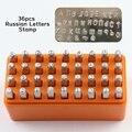 36PC Russische Alphabet Metall Briefmarken Russische Lettter Punch DIY Jewerly Stamper Handstamped Leder Handwerk Werkzeug Stahl Stempel Puncher