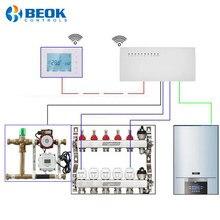 Termostato sem fio esperto de wifi da caldeira de gás da série bot306 e 8 controlador central e atuadores do cubo da sub-câmara para o aquecimento do assoalho