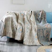 Couverture de canapé en pur coton, style bohème, motif géométrique, à la mode, pour le bureau et la voiture, toutes saisons