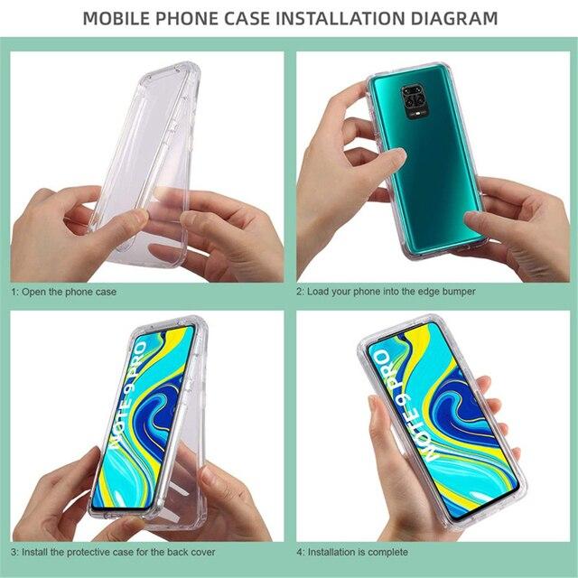 360 Degree Phone Case For Xiaomi Redmi Note 10 9S 9 Pro Max 5G 9A 9C 8 8 8A 8T 9T 7A 5A 5 Plus 6A 6 7 Full Body 2IN1Clear Cover 6