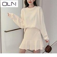2019 Autumn dress+Vest OLN Korean vestidos wholesale Sweater + ruffled skirt two-piece suit