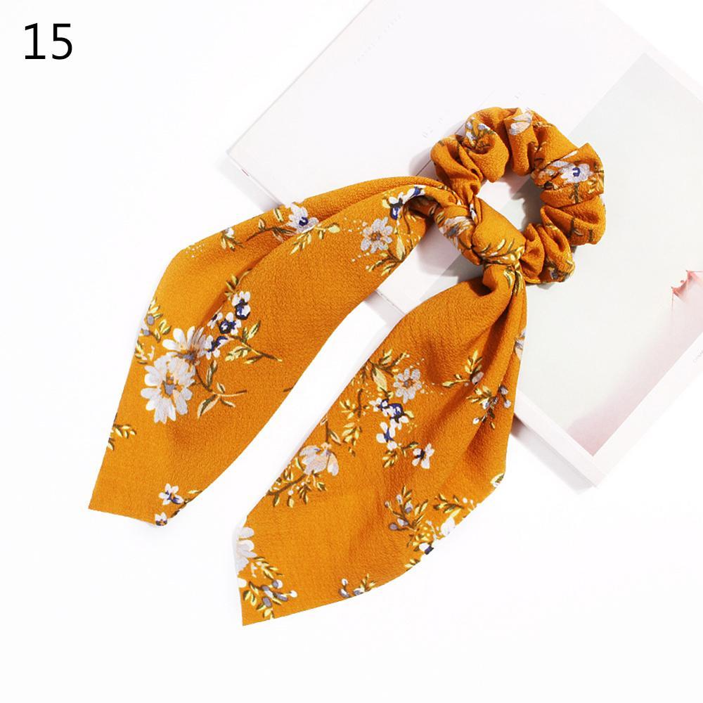 Bohème grande fleur chouchous longs banderoles arc cheveux écharpe femmes filles doux cheveux corde cravates mode cheveux accessoires chapeaux 69