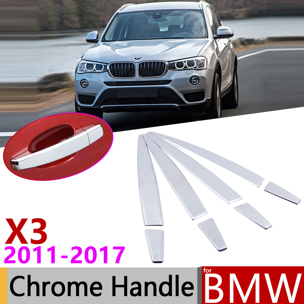 for <font><b>BMW</b></font> <font><b>X3</b></font> F25 2011~<font><b>2017</b></font> Chrome Exterior Door Handle Cover Car <font><b>Accessories</b></font> Stickers Trim Set of 4Door 2012 2013 2014 2015 2016 image