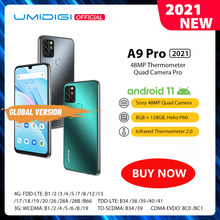 UMIDIGI A9 Pro 2021 Android 11 RAM 8GB 128GB Samrtphone 48MP AI Matrix Quad Camera Helio P60 Octa Core 6.3