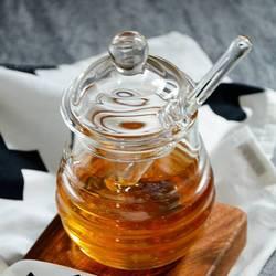 Przezroczysty szklany słoik na miód z pokrywką słoik na miód z zakraplaczem  przezroczysty  9 uncji