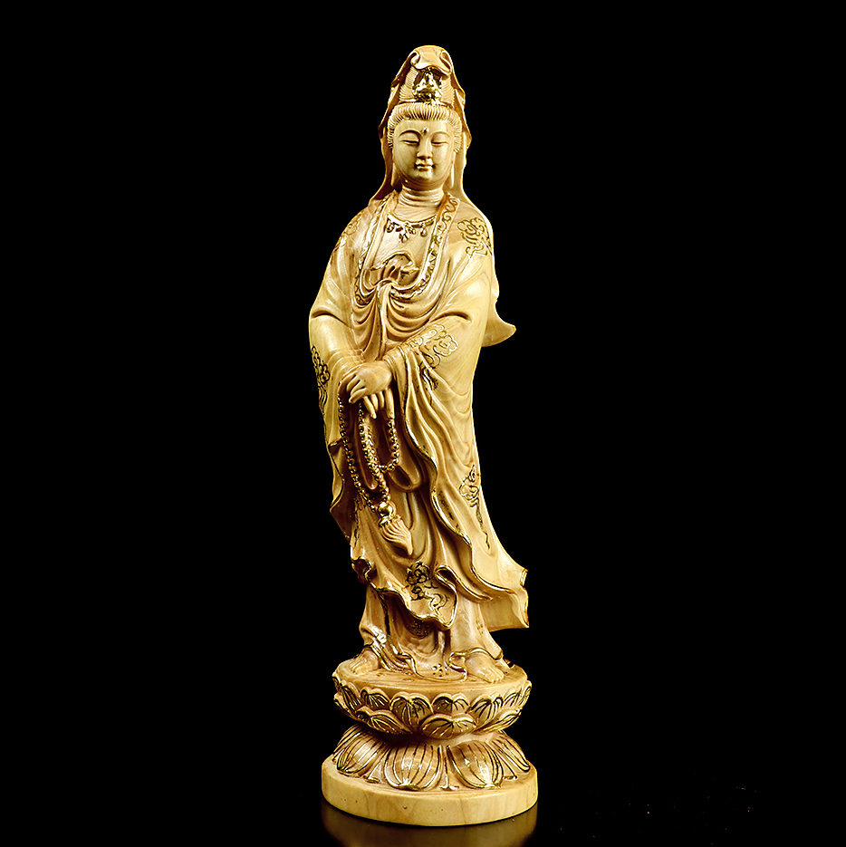 Buddha Indian Natural Carved Statue Wooded Ornaments Gift Home Decora JI