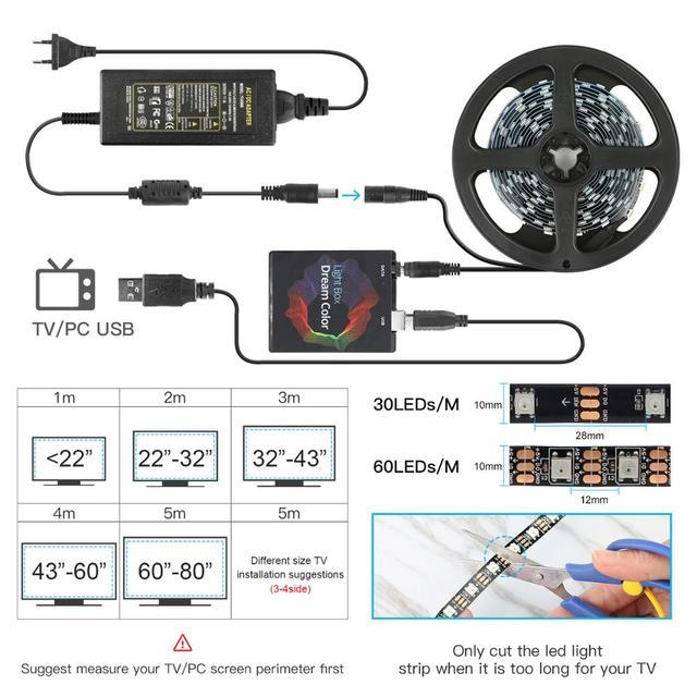 Excellux USB LED Streifen Hintergrundbeleuchtung für TV 3