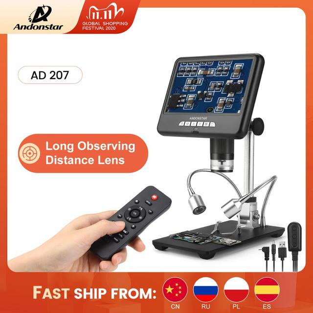 Andonstar AD207 3D Digital Microscope Long Distance Len Soldering Tool for Electronic Phone/PCB/SMD Repair Image Rotate Function