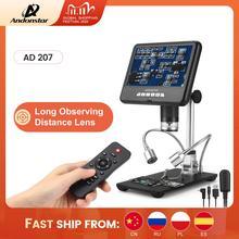 Andonstar microscopio Digital AD207 3D, herramienta de soldadura de lente de larga distancia para teléfono electrónico/PCB/SMD, función de rotación de imagen de reparación