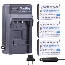 Batterie, chargeur de voiture, prise EU, pour Nikon Coolpix S550 S560 Pentax M50 W60 W80, NP-BY1, EN-EL11 EN EL11 D-Li78 D Li78 NP-BY1, 3 pièces