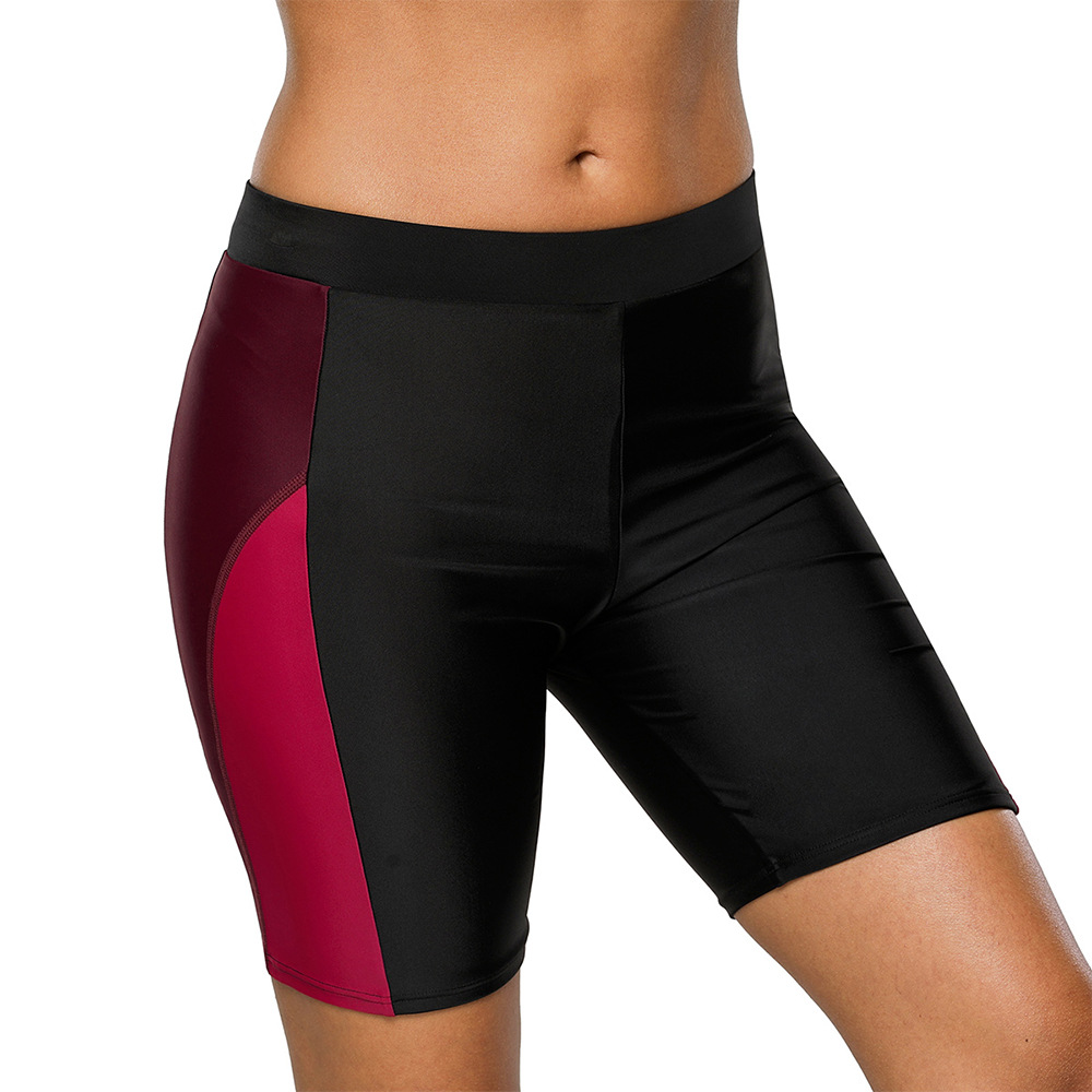 Matrix Beach Shorts Women's Tight-Fit Contrast Color Fashion Short Swimming Trunks High-waisted Four Corners Swimming Trunks Wom