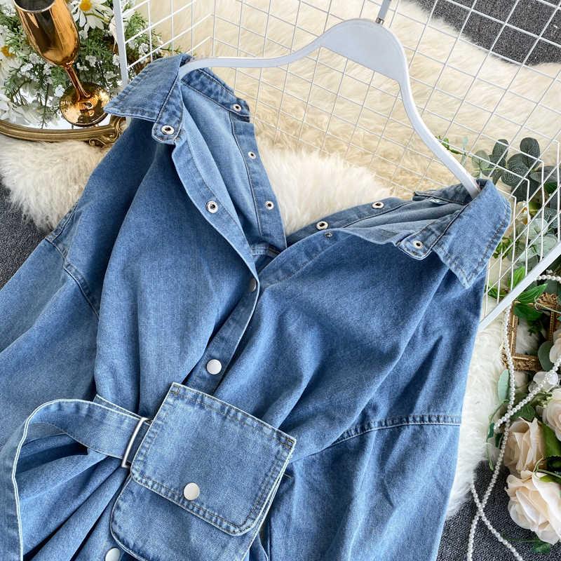 2020 Vintage Schärpen Schlanke Taille Jeans Mantel Herbst Winter Frauen Denim Jacke Koreanische Tasten Backless Lange Oberbekleidung