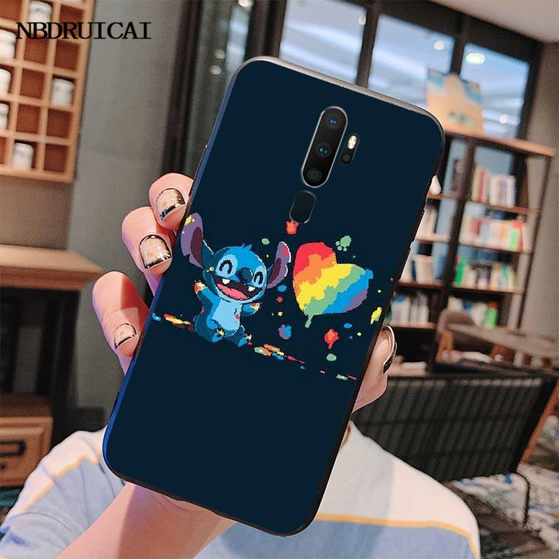 Penghuwan Kartun Stitch Bling Lucu Ponsel Case untuk OPPO A5 A9 2020 A11x A71 A73S A1K