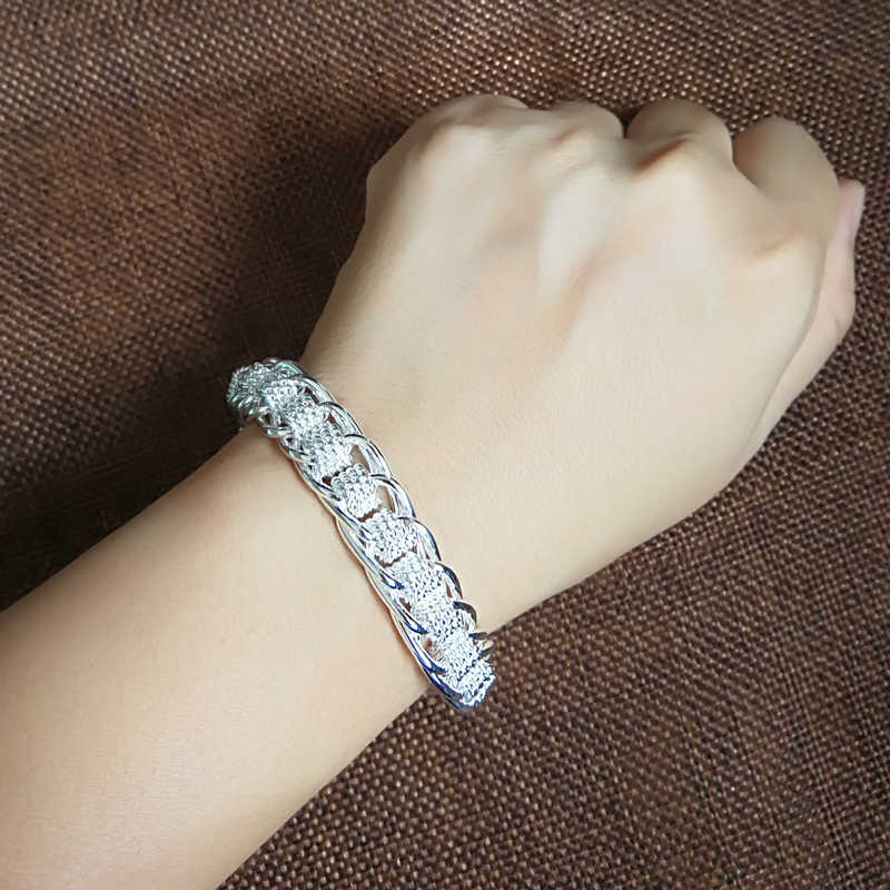 Charmhouse 925 Sterling Silver Bracelets For Women Lady 12mm Width Link Chain Bangle Bracelet Wristband Pulseira Fashion Jewelry