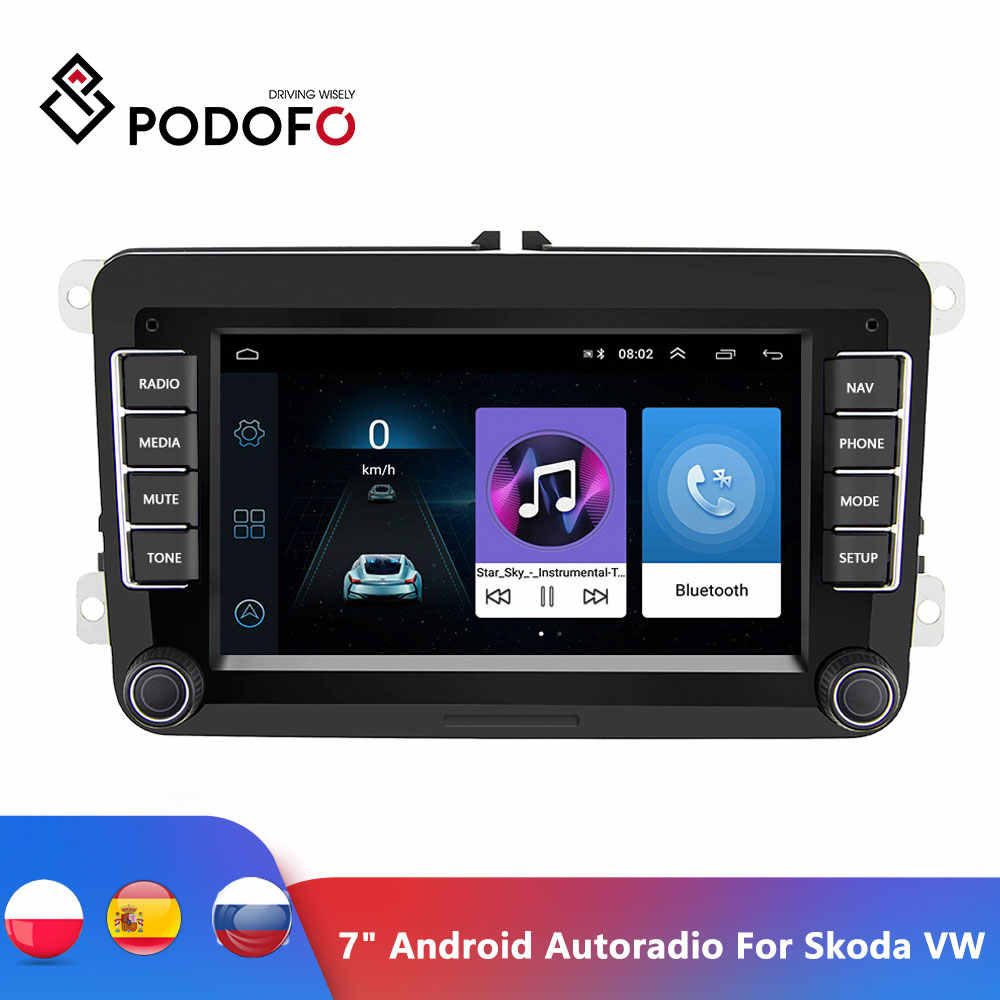 "Podofo 7 ""Android Car Multimedia Player 2 DIN WIFI นำทาง GPS Autoradio สำหรับ Skoda VW Passat B6 POLO GOLF 4 5 Touran ที่นั่ง FM"