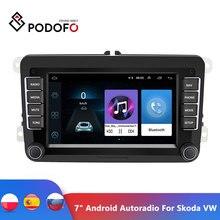 "Podofo 7 ""안드로이드 차량용 멀티미디어 플레이어 2 Din WIFI GPS 네비게이션 Skoda VW Passat B6 폴로 골프 4 5 Touran Seat FM"