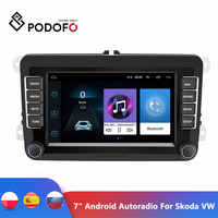 "Podofo 7 ""Android автомобильный мультимедийный плеер 2 Din WIFI GPS навигация Авторадио для Skoda VW Passat B6 Polo Golf 4 5 Touran Seat FM"
