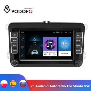 "Image 1 - Podofo 7 ""Android Auto Multimedia Speler 2 Din Wifi Gps Navigatie Autoradio Voor Skoda Vw Passat B6 Polo Golf 4 5 Touran Seat Fm"