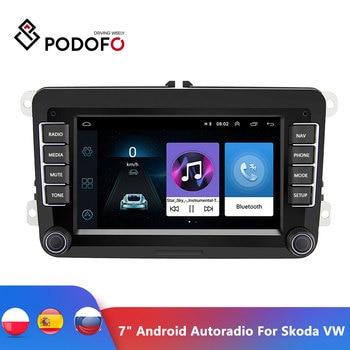 "Podofo 7"" Android Car Multimedia Player 2 Din WIFI GPS Navigation Autoradio For Skoda VW Passat B6 Polo Golf 4 5 Touran Seat FM"