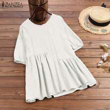 Blouse Shirts Short-Sleeve Summer Tops Cotton Tunic Stiching Blusas Female Casual Plus-Size