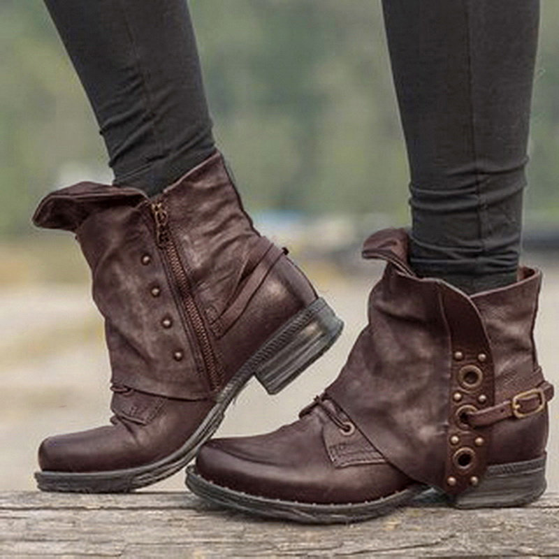 2020 Boots Women PU Leather Shoes For Martin Boots Shoes Woman Casual Spring Genuine Leather Botas Mujer Female Ankle Boots