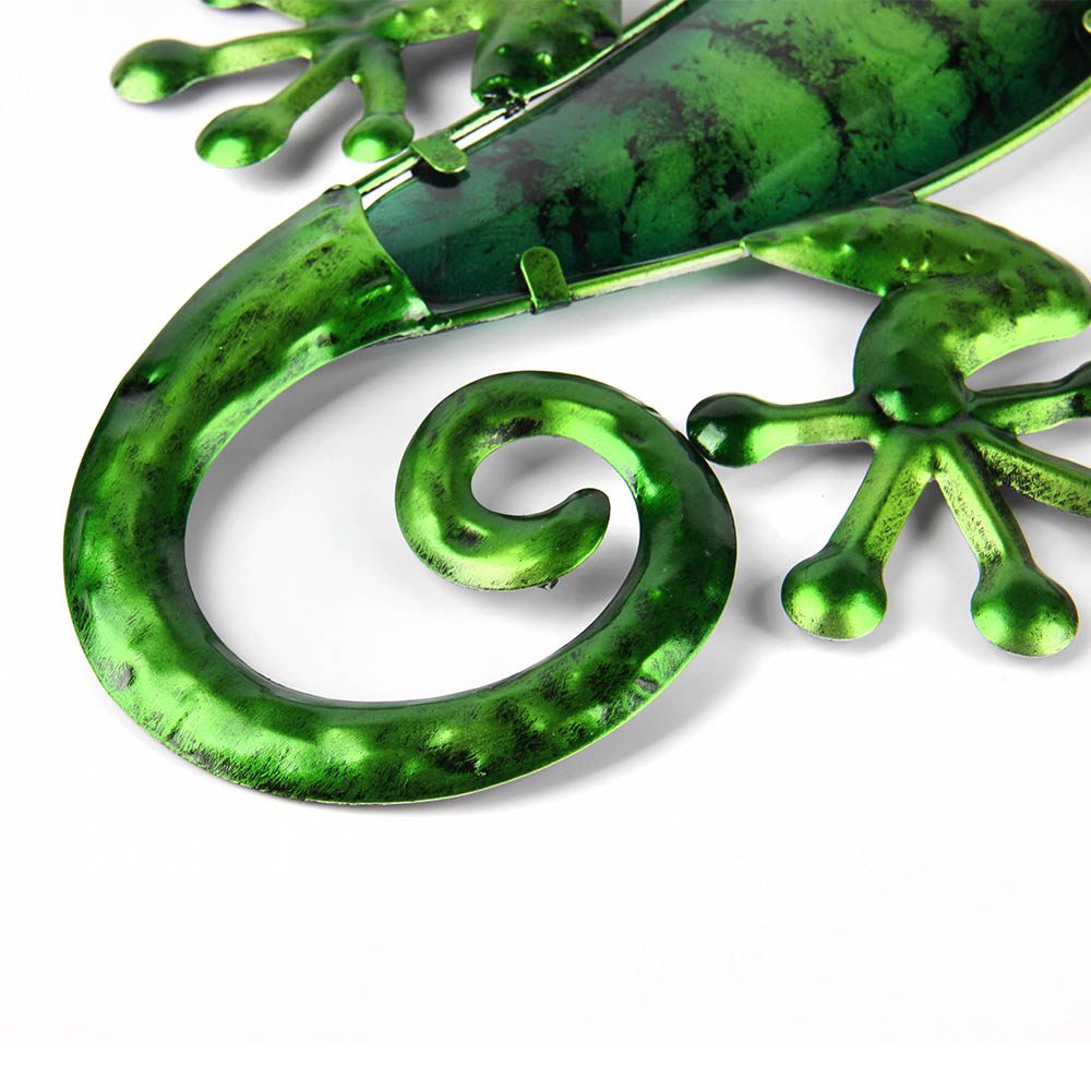 Metal Lizard Wall Art with Green Glass Painting for Garden Outdoor Decoration Animal Statues and Sculptures 6