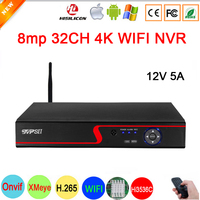 Hi3536C XMeye Red Panel Surveillance video recorder Face Detect H.265+ 8MP 4K 32CH 32 Channel one SATA Audio Onvif IP WIFI NVR