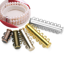 5pcs 2 3 4 5 6 8Rows Strong Magnetic Clasps Crimp End Caps Slider Clasp Buckles Tubes For Necklace Bracelet Chain Buckle Hook