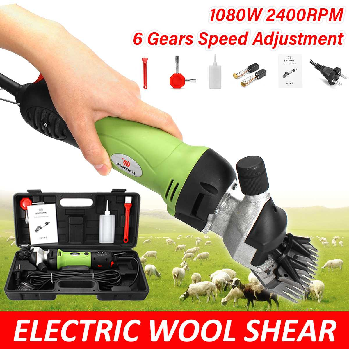 220V 1080W 6 Gears Speed Electric Sheep Goat Shearing Machine Clipper Farm Sheep Goat Shears Cutter Wool Scissor Cut Machine
