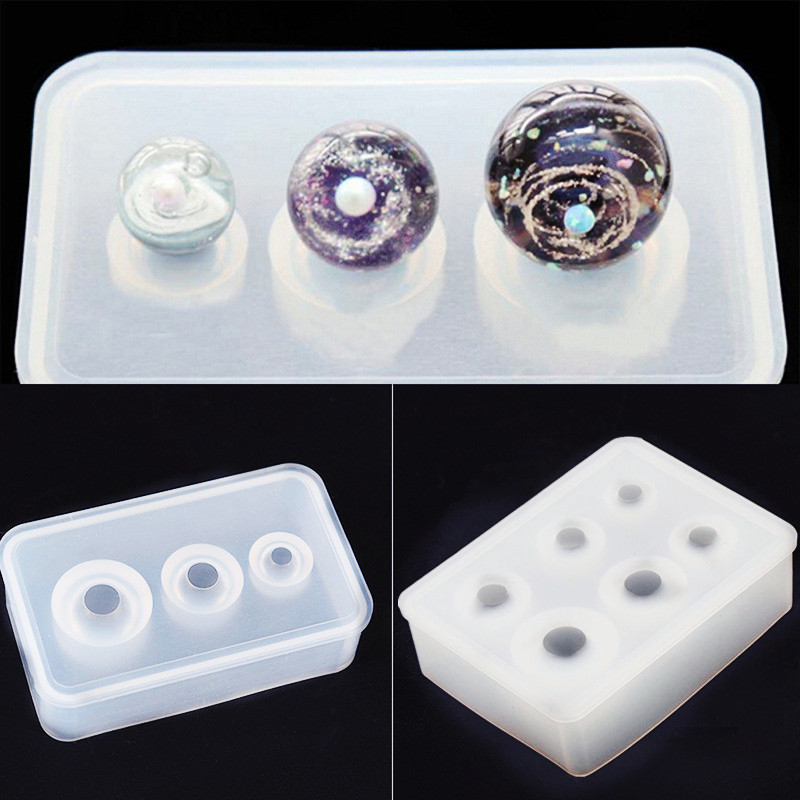 SNASAN Silicone Mold For Jewelry Making Ball Beads 9mm-25mm Epoxy Resin Silicone Mould Diy Handmade Craft Charms