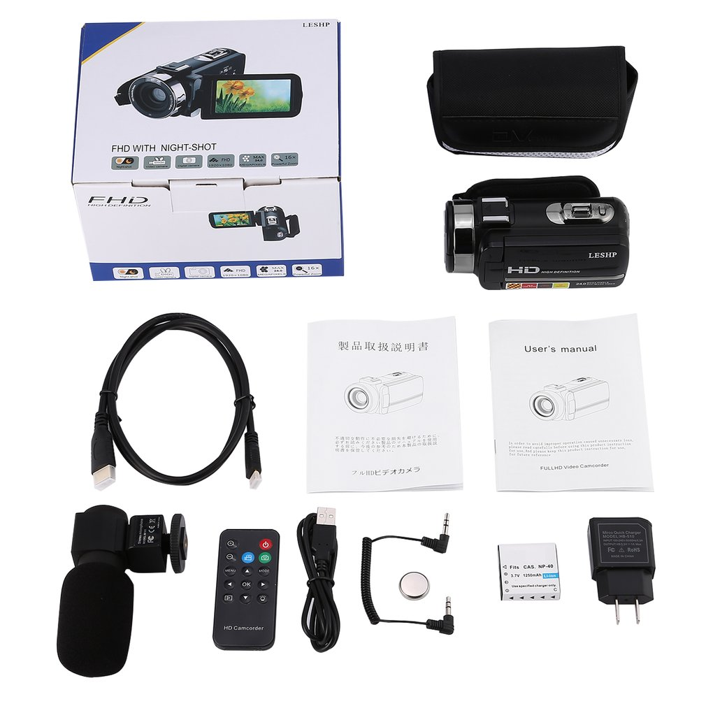 """Digital Video Camera FHD 1080P IR 24MP 16X Digital Zoom Camcorder with Microphone and 3.0"""" LCD 270 Degree Touchscreen"""
