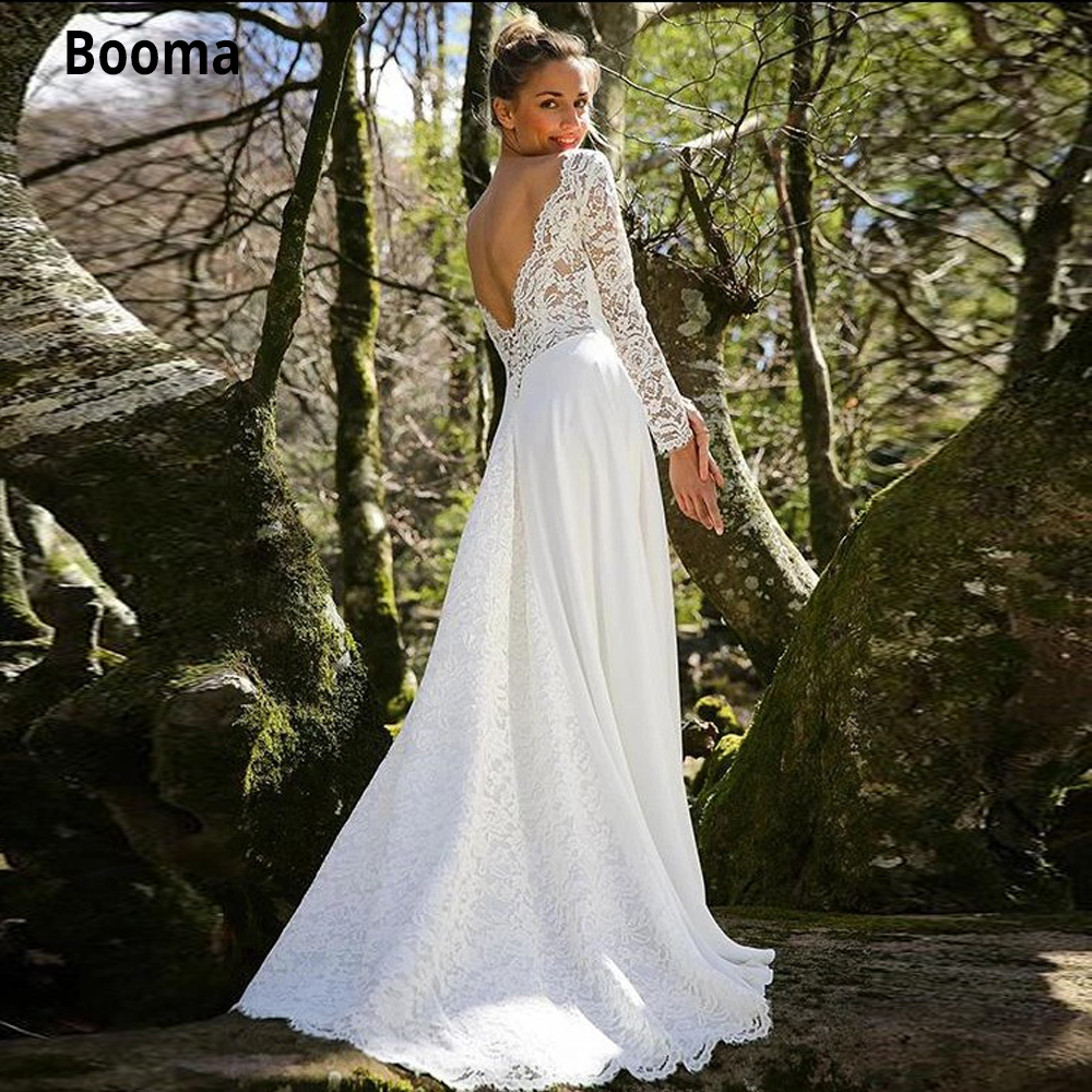 Booma Beach Bridal Wedding Dresses With Lace Long Sleeve Scoop Neckline Backless Chiffon Wedding Gowns Sweep Train Custom Made