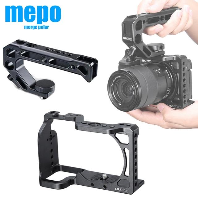 กรอบอลูมิเนียมป้องกันVlogการถ่ายภาพกล้องสำหรับSony A6600 พร้อมที่จับ 1/4 3/8 สกรูสำหรับไฟLEDไมโครโฟน
