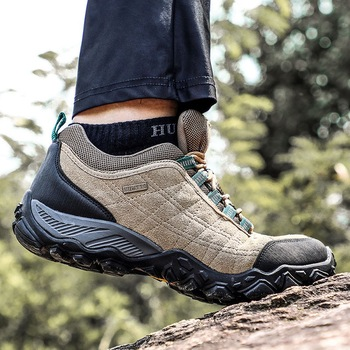 Humtto New Arrival Leather Hiking Shoes Wear-resistant  Outdoor Sport Men Shoes Lace-Up Mens Climbing Trekking Hunting Sneakers 5