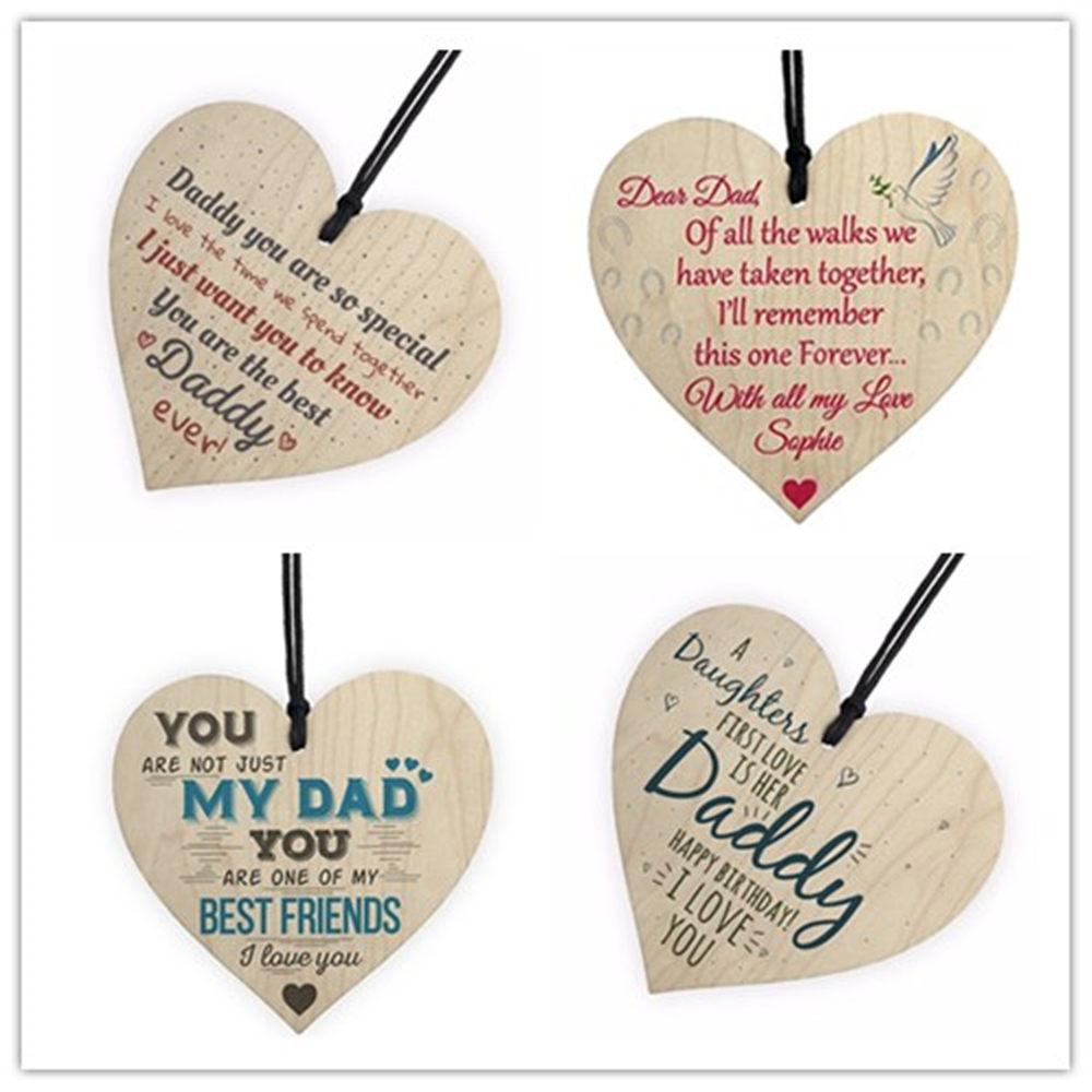 Commemorating father Love Daddy Best Dad Wooden Heart Happy Birthday Card Sign Son Daughter Baby Thank You Christmas Decorations box clutch purse