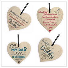 Commemorating father Love Daddy Best Dad Wooden Heart Happy Birthday Card Sign Son Daughter Baby Thank You Christmas Decorations(China)