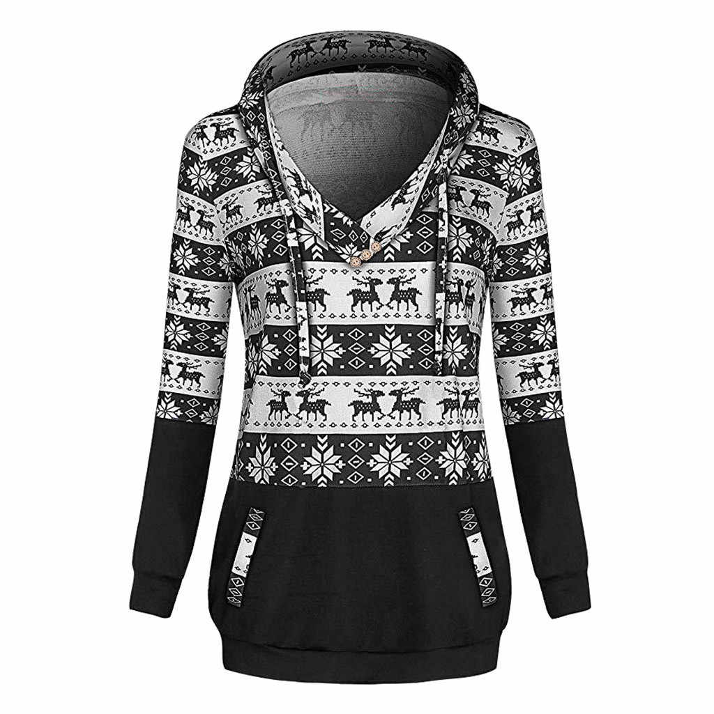Feitong Christmas Clothes Women Leisure Time Hoodies Christmas Long Sleeve Xmas Printing Jacket Pullovers Sweatshirt