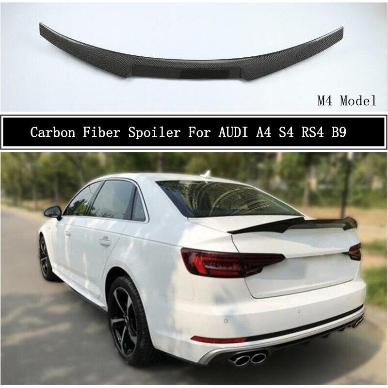 Carbon Fiber Spoiler Für AUDI A4 S4 RS4 B9 2017 2018 2019 2020 2021 Flügel Lip Spoiler Hohe Qualität M4 auto Zubehör