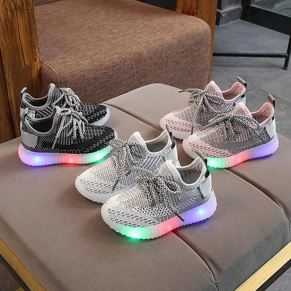เด็กวัยหัดเดินรองเท้าผ้าใบเด็กตาข่าย LED Light Luminous วิ่งรองเท้ากีฬารองเท้า Chaussure Lumineuse Pour Garcon