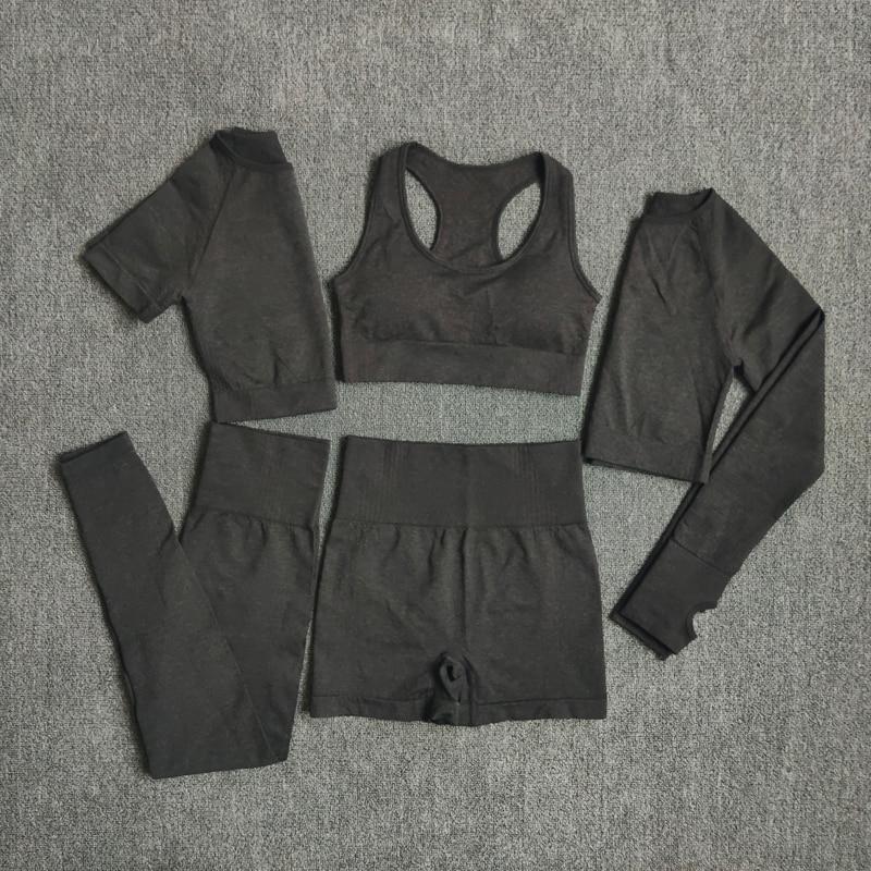2/3/5PCS Seamless Women Yoga Set Workout Sportswear Gym Clothing 6