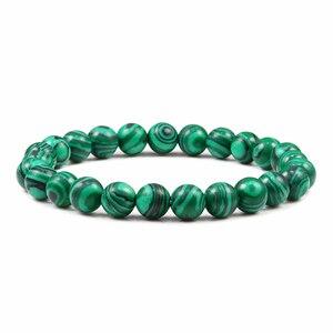 Image 2 - Nouveau bleu Malachite pierre naturelle Bracelets femmes hommes Chakra prière Mala bouddhiste perles Bracelet Bracelet Yoga brin charme bijoux