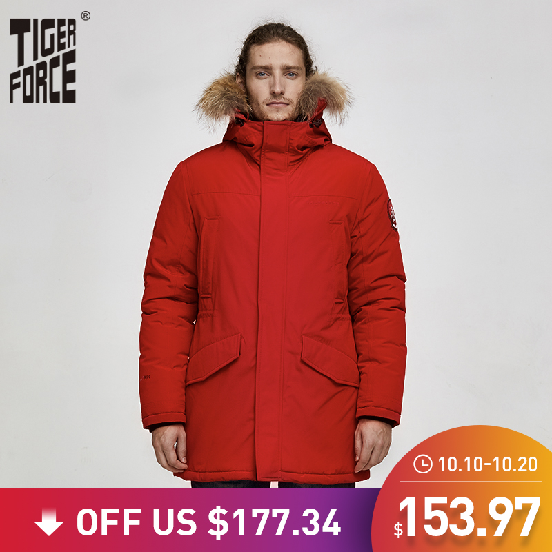 Tiger Force 2019 Alaska Parka Winter Jacket for Men Waterproof Warm Coat  with Real Fur Hooded Male Thick Snowjacket Big Pocket-in Parkas from Men's Clothing