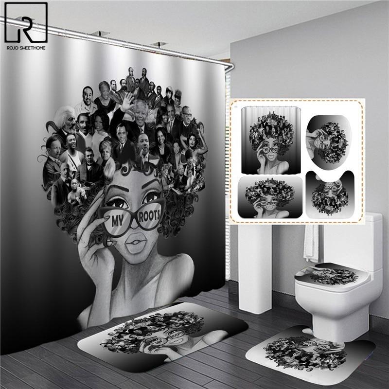 Afro-américain noir femmes imprimer rideau de douche ensemble imperméable salle de bain rideaux doux anti-dérapant tapis de bain couverture de toilette tapis