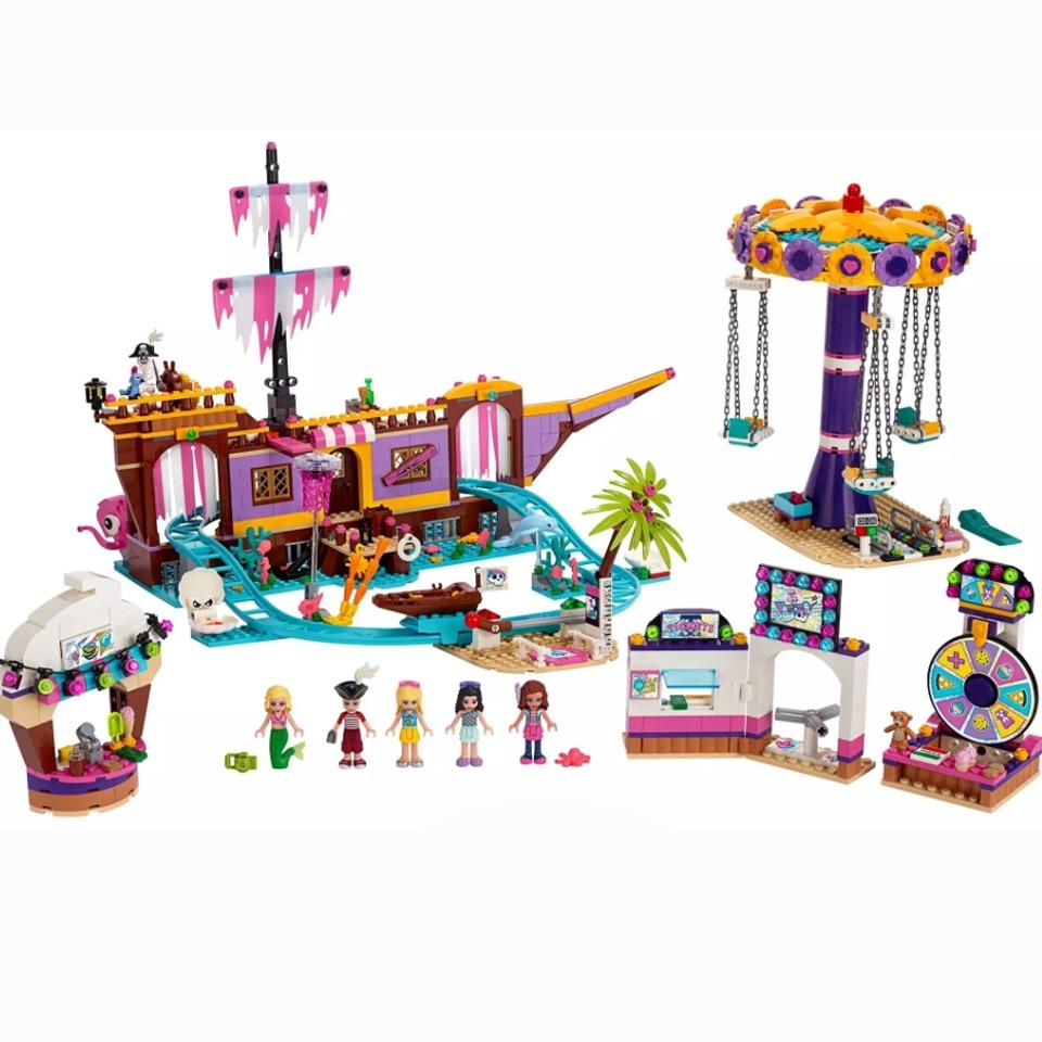 New Friends Set Amusement Park Fit For Legoinglys Friends 41375 Model Building Block Bricks Toys For Girl Christmas Gifts
