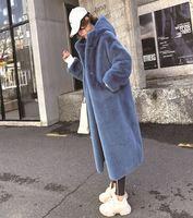 2019 Winter Women Thick Warm Hooded Artificial Mink Fur Overcoats Loose Plus Size Long Faux Fur Coat