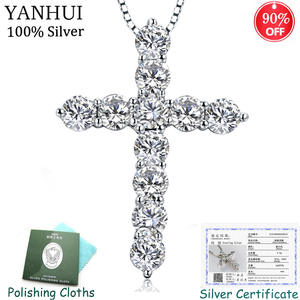 With Certificate Silver Cross Pendant Necklace Inlay Shiny 11pcs 3.5mm CZ Zircon Stone Pendant&Necklace Women Original Jewelry