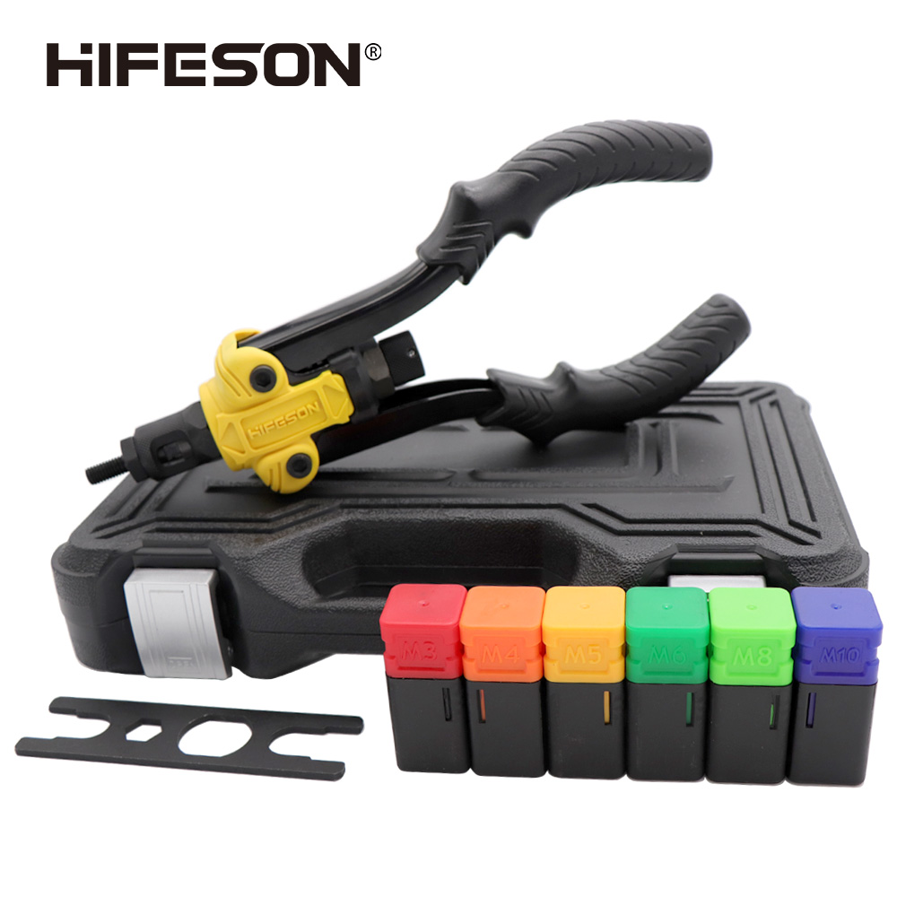HIFESON Insert Threaded Mandrels Hand Rivet Nut Gun Manual Riveter for Riveting Rivnut Tool M3 M4 M5 M6 M8 M10 Iron Nut Toolbox
