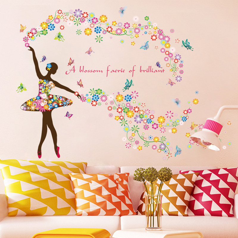 Romantic Flower Fairy Wall Stickers for Children's Room Bedroom Wallpaper Room Decals Mural ART Fortnite Butterfly Decoration Pakistan