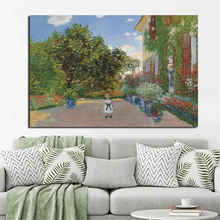 Claude Monet Artist's House Canvas Painting Print Living Room Home Decoration Modern Wall Art Oil Painting Posters Pictures HD claude monet in summer canvas painting prints living room home decoration modern wall art oil painting posters pictures artwork